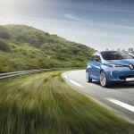 Renault Zoe blauw op de snelweg